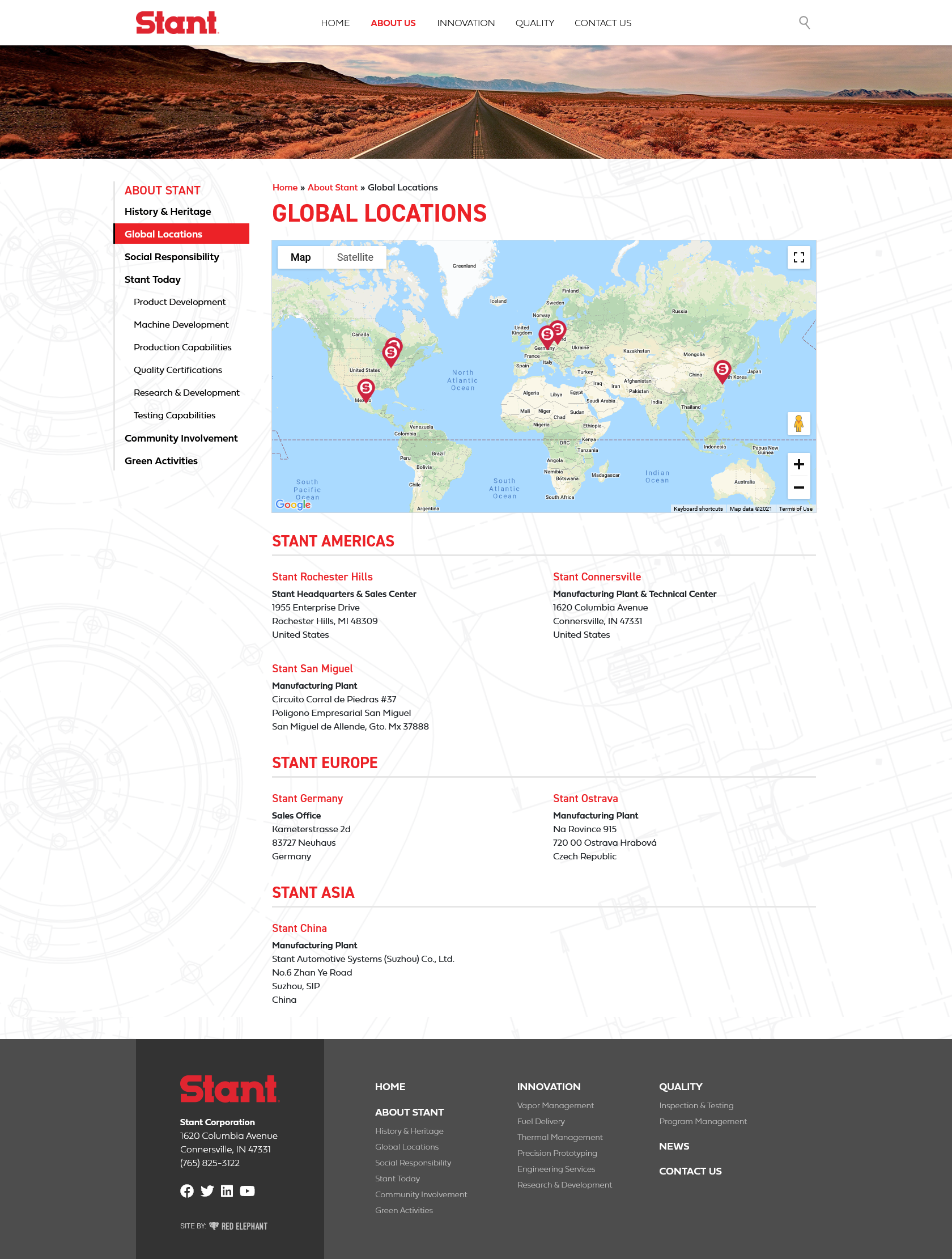 Stant Website Layout Interior Page